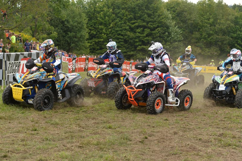 Bryan Buckhannon (205) grabbed the 4x4 Pro class holeshot ahead of Kevin Trantham (203), Jordan Phillips (602) and a host of other Can-Am Renegade racers at the 2014 Can-Am Unadilla GNCC in New York. Buckhannon, the class points leader, took second at round 10 and Trantham was third.