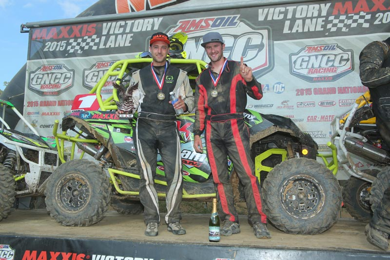 (From left) With the overall win at the John Penton GNCC Saturday, Can-Am X-Team driver Kyle Chaney and co-pilot Chris Bithell have now won the last three XC1 Pro UTV class races with the Can-Am Maverick 1000R side-by-side vehicle to expand their points lead.