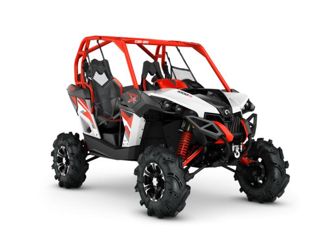 2016 Maverick X mr 1000R White, Black - Can-Am Red_3-4 front