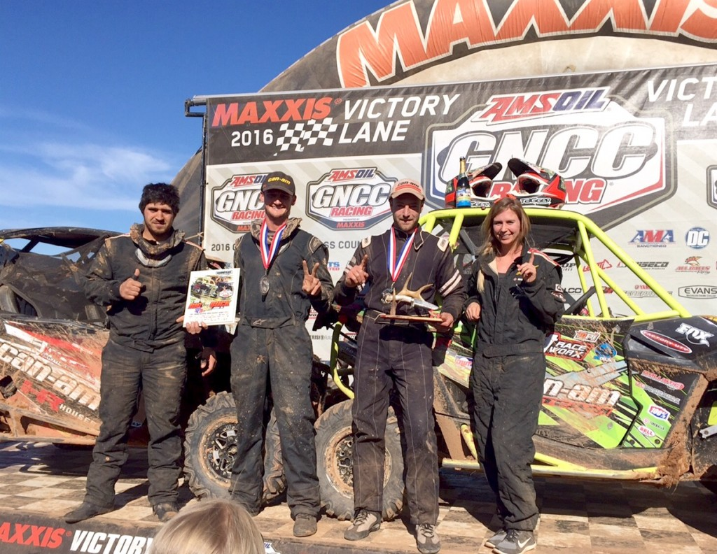(From left) Berni Ainslie, driver Cody Miller, Kyle Chaney and co-pilot Taylor Rawls put together a great 1-2 podium effort at the 2016 Big Buck GNCC UTV race in South Carolina. Chaney, the defending champ, notched his first win of the year and Miller tallied his second straight podium finish.